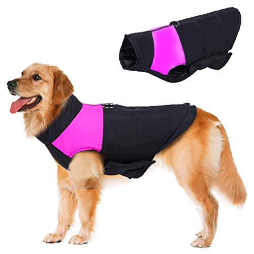 BESAZW Dog Winter Jacket Warm Dog Coat Vest for Cold Weather Adjustable Reflective Down Jacket for Small Medium Large Dogs Pink,2XL