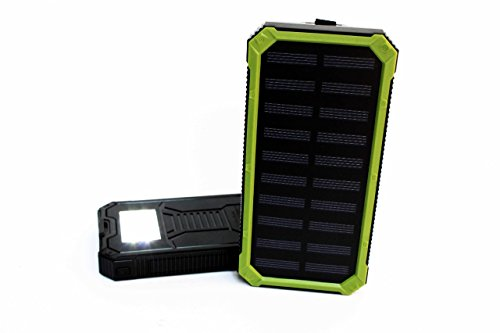 Portable External Backup Battery Solar Panel Charger, Lightweight. For Any Mobile Devices. Waterproof for Outdoor Camping Activities. Built-in light LED for Emergency Use SOS. Including, Su (Black) by TechEntic
