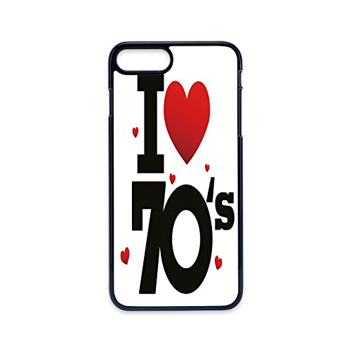 Phone Case Compatible with iPhone7 plus iPhone8 plus 2D print Black edge,70s Party Decorations,The Seventies Icon with Big and Little Hearts Vintage Cute Typography Decorative,Red Black,Hard Plastic P]()