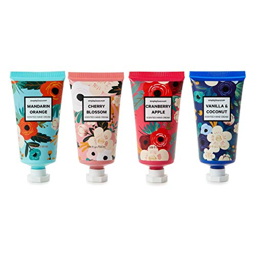 Hand Cream Lotion: Bath and Body Lotions Gift Set for Women - Travel Size Scented Hand Cream Sets - Mini Lotion - 1.69 Oz - 4-Pack - Mandarin Orange, Cherry Blossom, Cranberry Apple, Vanilla Coconut