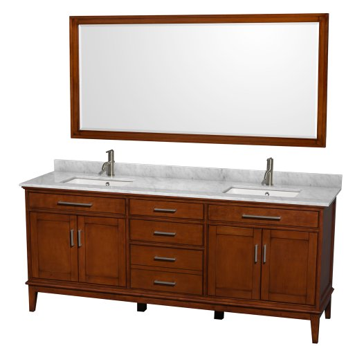 Wyndham Collection Hatton 80 inch Double Bathroom Vanity in Light Chestnut, White Carrera Marble Countertop, Undermount Square Sinks, and 70 inch Mirror