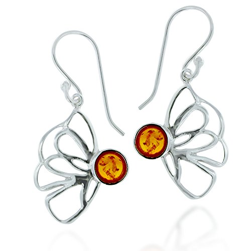 Rhodium Plated 925 Sterling Silver Amber Gemstone Wire Butterfly Dangle Earrings (Earrings Silver Plated Amber)