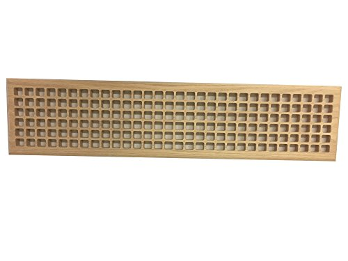 6 Inch x 30 Inch White Oak Hardwood Vent Floor Register Surface Mount, Eggcrate Style, Unfinished