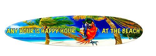Beach Parrot Happy Hour Surfboard Wall Decor - Size 4' x 11.5