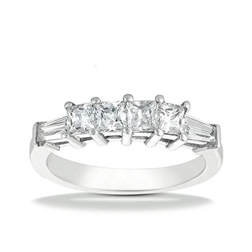 1.00 ct. Wedding Band with Tapered Baguette and Princess Cut Diamonds