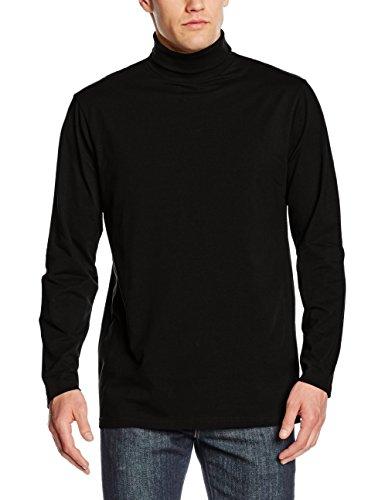 Henbury Mens Long Sleeve Cotton Rich Roll Neck Top / Sweatshirt (L) (Black)