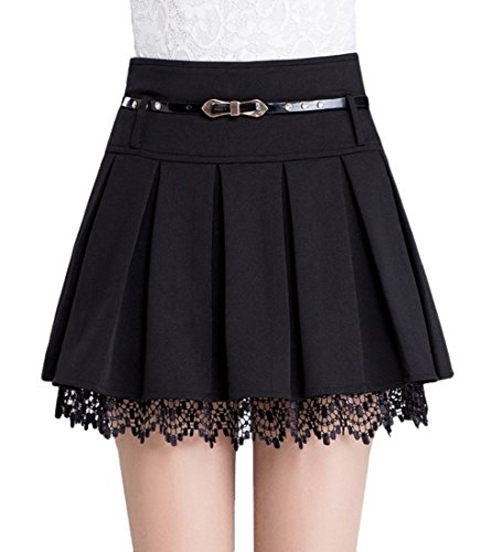Tanming Women's A-Line Plaid Skirt Side Zipper (Small, Black)