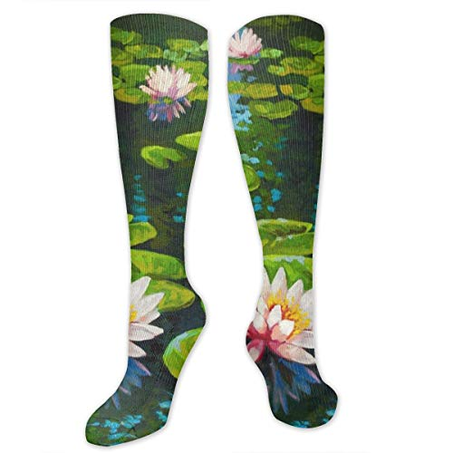 (Compression Socks Oil Painting Lily Girls Winter Sock Decor Tight Stocking for Womens Men)