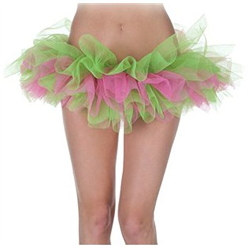 Ready To Wear Dance Costumes (Adult Tutu Assorted Colors Rave Dance Wear - Pink/Green)