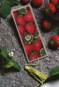 Royal Paris Les Fraises Bookmark Cross Stitch Kit - Royal Paris Needlepoint