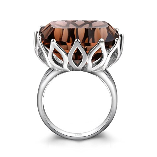 JewelryPalace Huge Unique Concave 20ct Genuine Natural Smoky Quartz Ring Solid 925 Sterling Silver Size 11