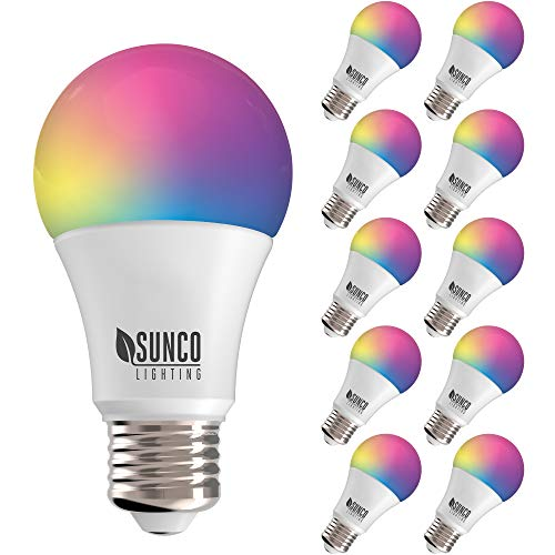 Sunco Lighting 10 Pack WiFi LED Smart Bulb, A19, 6W, Color Changing (RGB & CCT), Dimmable, 480 LM, Compatible with Amazon Alexa & Google Assistant – No Hub Required