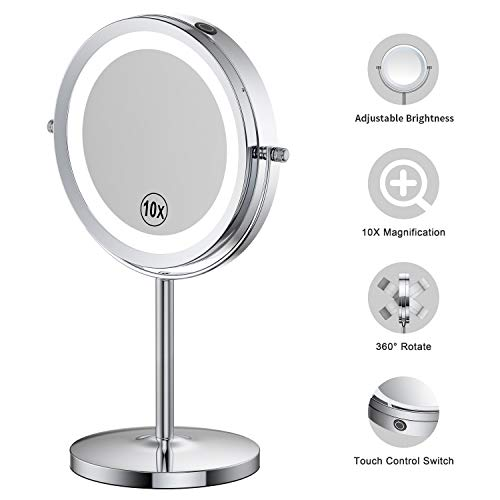 LED Lighted Makeup Mirror - 7 Inch Benbilry 1x/10x Magnifying Mirror Touch Control, Double Sided Magnified Vanity Mirror With Stand, Battery Operated (10x Dimmable Mirror) ()