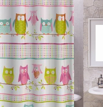 OWL PATTERNED POLYESTER 180 X 180CM SHOWER CURTAIN