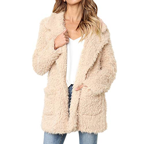 (Faux Shearling Hoodie Coat,Women's Casual Jacket Winter Warm Parka Outwear Overcoat by-NEWONESUN Khaki)