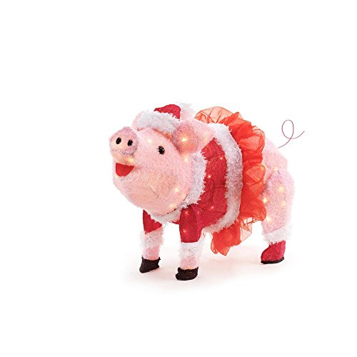Lighted Christmas Pig Outdoor Decoration in US - 4