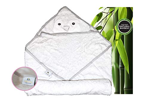 Ultra Soft Premium Baby Hooded Towel, 100% Organic Bamboo, Perfect for Baby Shower Gift, 85cm X 85cm for Newborns, Infants, Toddlers in White Color - Organic Penguin