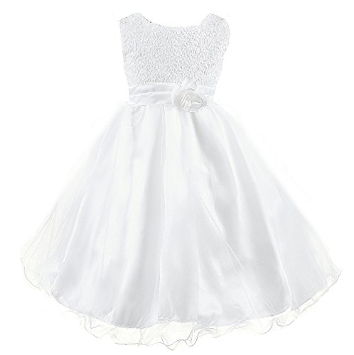- Wocau Little Girls' Sequin Mesh Tull Dress Sleeveless Flower Party Ball Gown (120(4-5 Years), White)