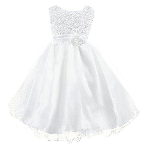 (Wocau Little Girls' Sequin Mesh Tull Dress Sleeveless Flower Party Ball Gown (160(8-9 Years),)