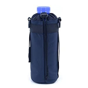 U-TIMES Water Bottle Holder 750 ml Nylon Water Bottle Carrier/Bag/Pouch/Case/Cover/Sleeve With Shoulder Strap & Belt Handle & Molle Accessories - Drawstring Closure(Dark Blue)