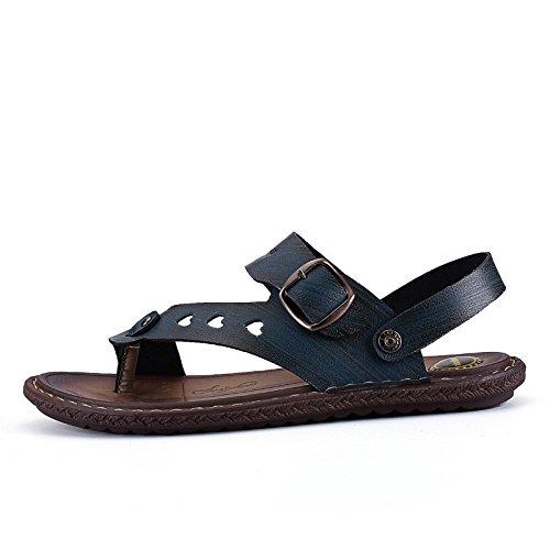 estate Uomini scarpa sandali sandali moda Tempo libero vera pelle sandali Uomini Antiscivolo Spiaggia scarpa ,blu1,US=8,UK=7.5,EU=41 1/3,CN=42