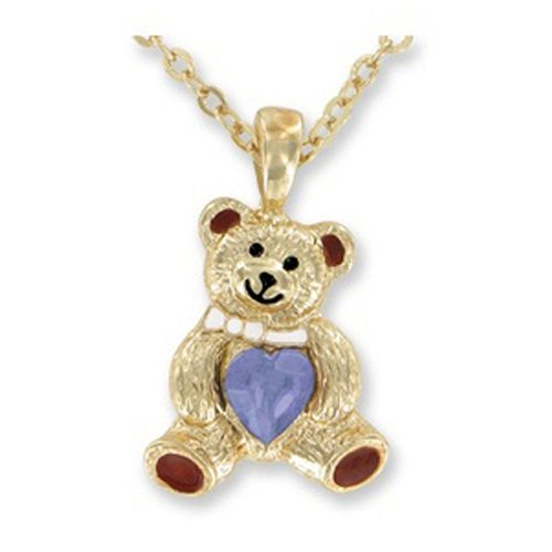 teddy bear BIRTHSTONE pendant Necklace - JUNE - faux - Birthstone Bear June