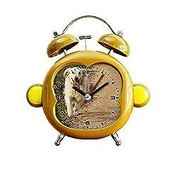 GIRLSIGHT1 Children's Room Monkey Style Silent Alarm Clock Twin Bell Mute Alarm Clock Quartz Analog Bedside and Desk Clock with Nightlight- 164. Golden Retriever Running