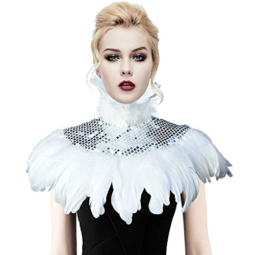 - Natural Feather Sequin Shawl Gothic Black Cape With Choker Collar (White)