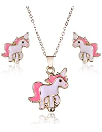 Pink Unicorn Jewelry Sets, Horse Necklaces Pendant Unicorn Earrings For Girls Children Kids Jewelry
