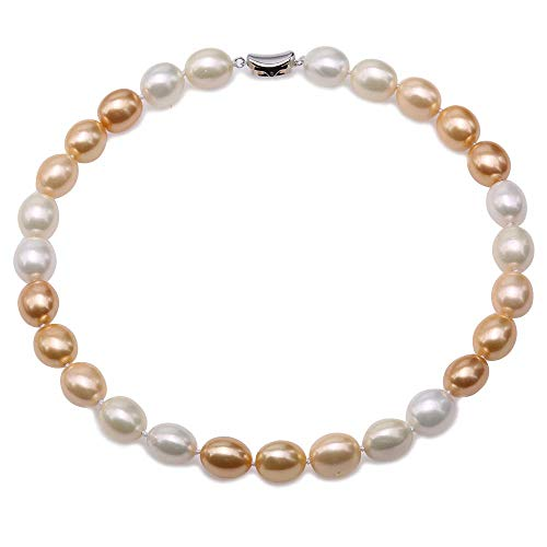(JYX Pearl Necklace 12×15mm White and Golden South Sea Shell Pearl Necklace Oval Beads Necklace for Women 18'')