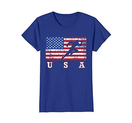 Womens American Flag Track & Field Shirt, USA Gift, Track Team Large Royal Blue