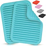 """Zulay 2 Pack (9""""x12"""") Silicone Trivets For Hot Pots and Pans - Multi-Purpose & Versatile Trivet Mat - Heat Resistant Silicone Trivet - Durable & Flexible Hot Pads For Kitchen Counter - Blue"""