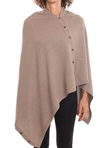 Mink Wool Yarn - DALLE PIANE CASHMERE - Poncho with Buttons Cashmere Blended Yarns - Women, Color: Mink, One Size