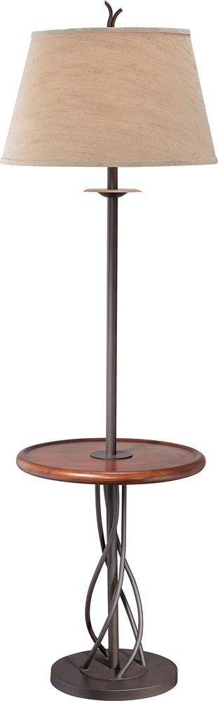 Iron Twist Base Wood Tray Table Floor Lamp
