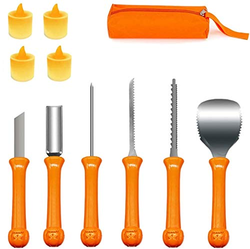 Pumpkin Carving Kit Halloween, 6Pcs Professional Pumpkin Cutting Supplies Tools with Carrying Case, 4 LED Candles and 10 Stencils, Stainless Steel Pumpkin Carving Knife for Halloween Decoration
