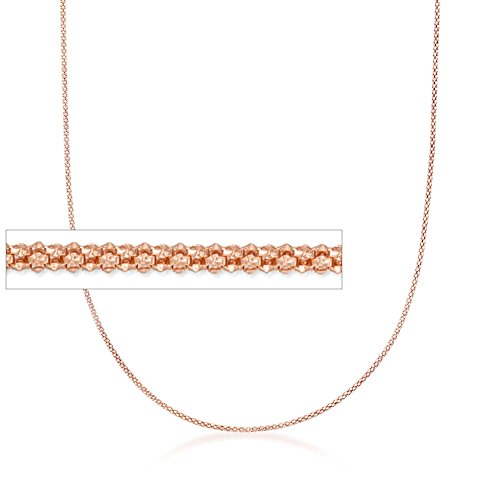 Ross-Simons Italian 1.5mm 18kt Rose Gold Over Sterling Adjustable Popcorn Chain Necklace (1.5 Mm Popcorn)