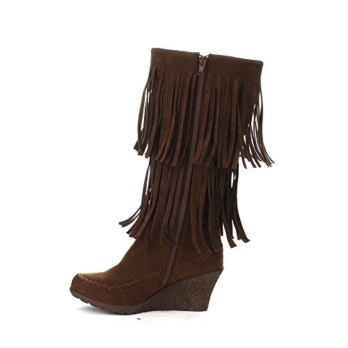 Beston BERNICE-03 Womens Fashion Two Layers Fringe Moccasin Style Boots, Color:BROWN, Size:10