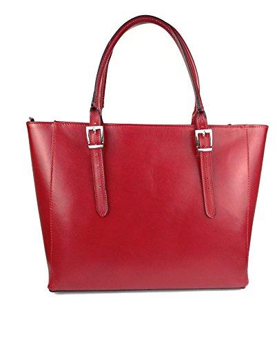 Zerimar Leder-Umhängetasche für Damen Große Umhängetasche aus weichem Leder handtasche aus echtem leder Größe 35x22x16 cm Rot Q1wzrD4RAQ