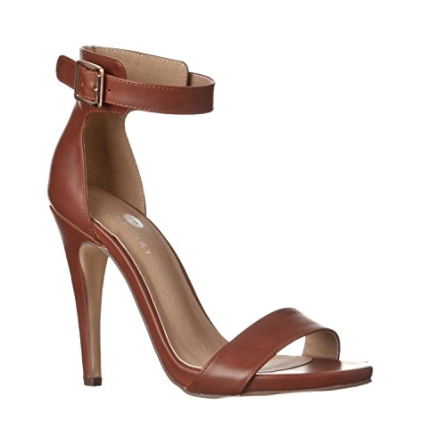 - Riverberry Women's Madi Open Ankle Strap High Heel Pumps, Brown PU, 8.5