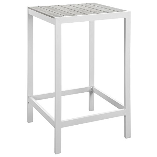 Modway Maine Aluminum Outdoor Patio Bar Table in White Light Gray