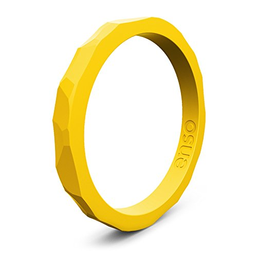 Enso Silicone Ring/Wedding Band. Hammered Design for Men and Women Color: Goldenrod. Size: 7