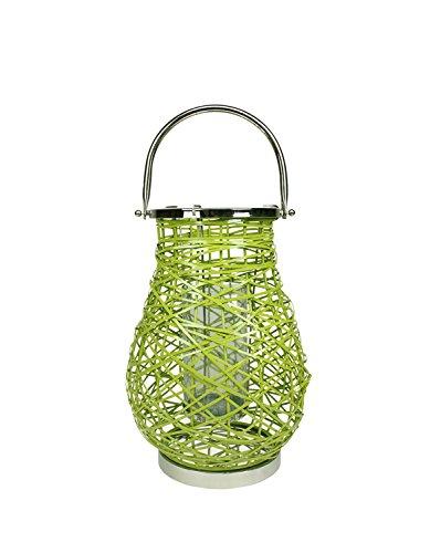 Northlight Modern Green Decorative Woven Iron Pillar Candle Lantern with Glass Hurricane, -