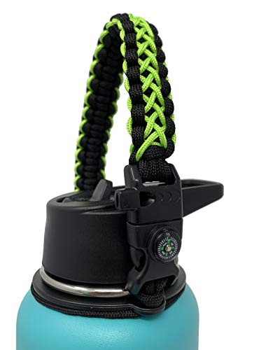 (GALAXTEK Paracord Handle Compatible with Hydro Flask Wide Mouth Bottle - Durable Carrier, Secure Accessories, Survival Strap Cord with Safety Ring and Carabiner (GreenBlack/Compass+Firestarter))