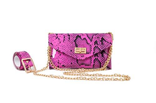 justHIGH's Bags Women Messenger Bag + Fanny Pack Snakeskin Leather Waist Pack Fashion Purse Belt Bag (Hot Pink)