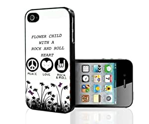 """White, Black, and Purple """"Flower Child with a Rock and Roll Heart"""" Hard Snap on Phone Case (iPhone 5/5s)"""