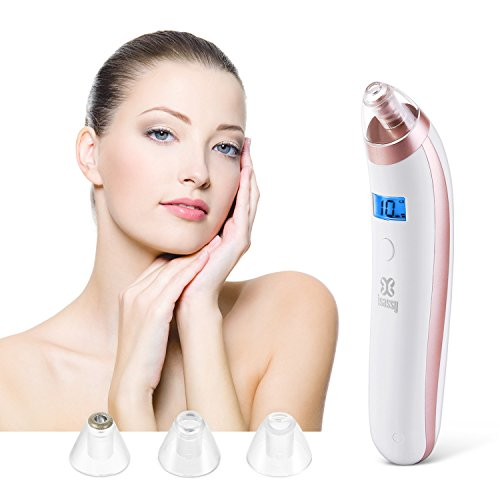Cheap Blackhead Remover Vacuum Pore Suction, ISASSY Electric Facial Pore Blackhead Cleaner Comedone Extractor Set(1 Set with 4 Probes)