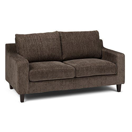 Simpli Home AXCMRS-02-DUB Marisa Contemporary 65 inch wide Sofa Loveseat in Deep Umber Brown Chenille Look Fabric
