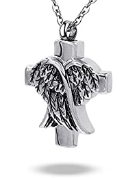 Angel Wing Urn Pendant Necklace for Ashes Memorial Keepsake Stainless Steel Cremation Jewelry