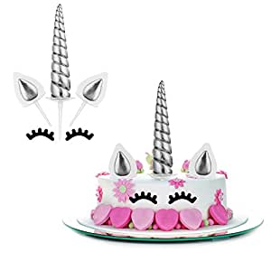 Mtlee Unicorn Cake Topper Set Include Unicorn Horn, Ears and Eyelashes for Unicorn Party Baby Shower Wedding Birthday Decorations, 10 Pieces Totally (Silvery)