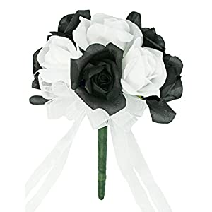 Black And White Silk Rose Toss Bouquet - Artificial Silk Bridal Wedding Bouquet 92